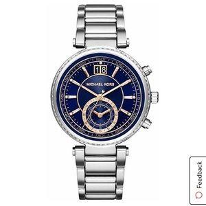 Michael Kors Navy Blue Silver Wrist Watch